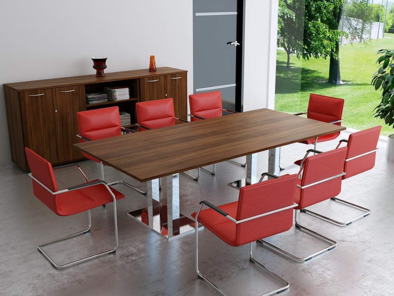 TCS Wood Veneer Boardroom Table on Twin Pedestal Base Choice of Shape & Finish