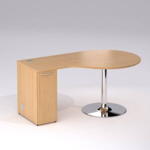 TCS Golf Club Sales Office Desk on Chrome Trumpet Base with Storage