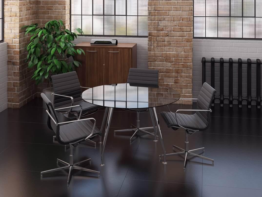TCS Round Glass Meeting Table Black or White on Chrome Capri Base