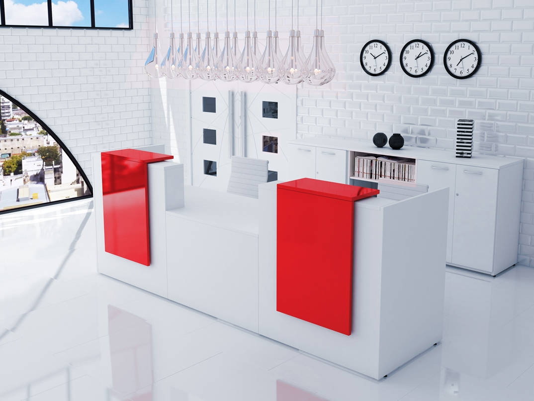 Red Gloss Office Furniture Beautiful Curved Red White