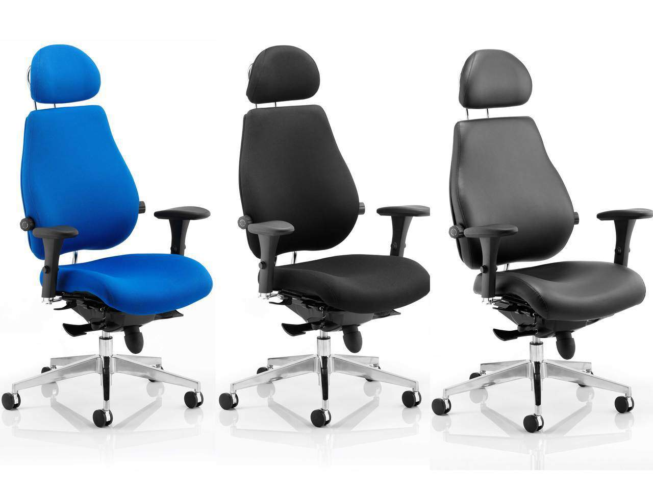 Chiro Plus ULTIMATE 24 Hour Ergonomic Posture Office Chair in Blue or Black Fabric or Leather