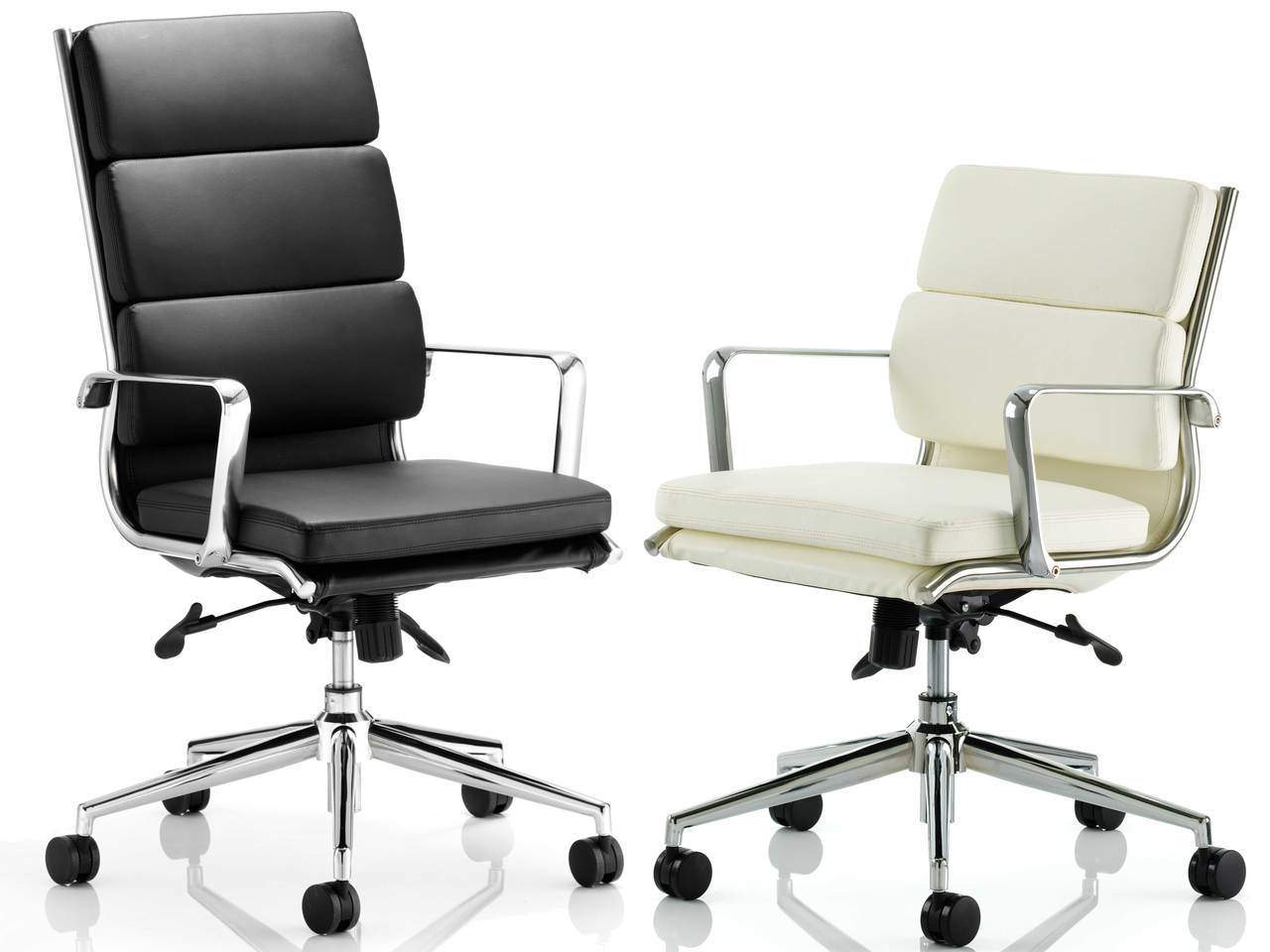 Savoy Medium and High Back Leather Executive Office Chair in Ivory or Black