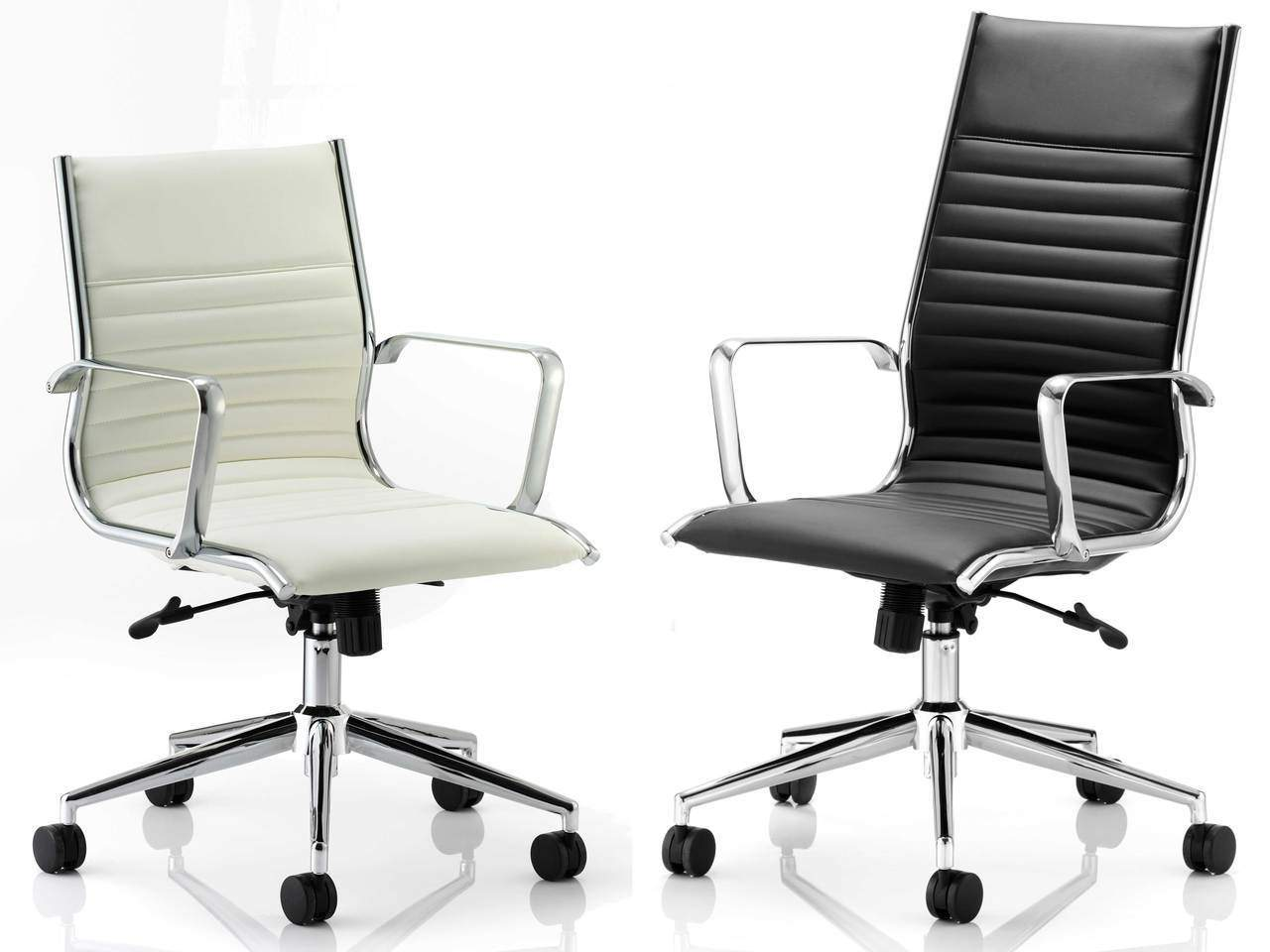 Ritz Medium and High Back Leather Executive Office Chair in Ivory or Black