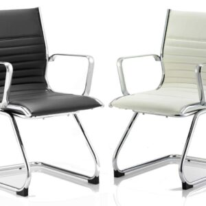 Ritz Medium Back Leather Executive Cantilever Chair in Black or Ivory
