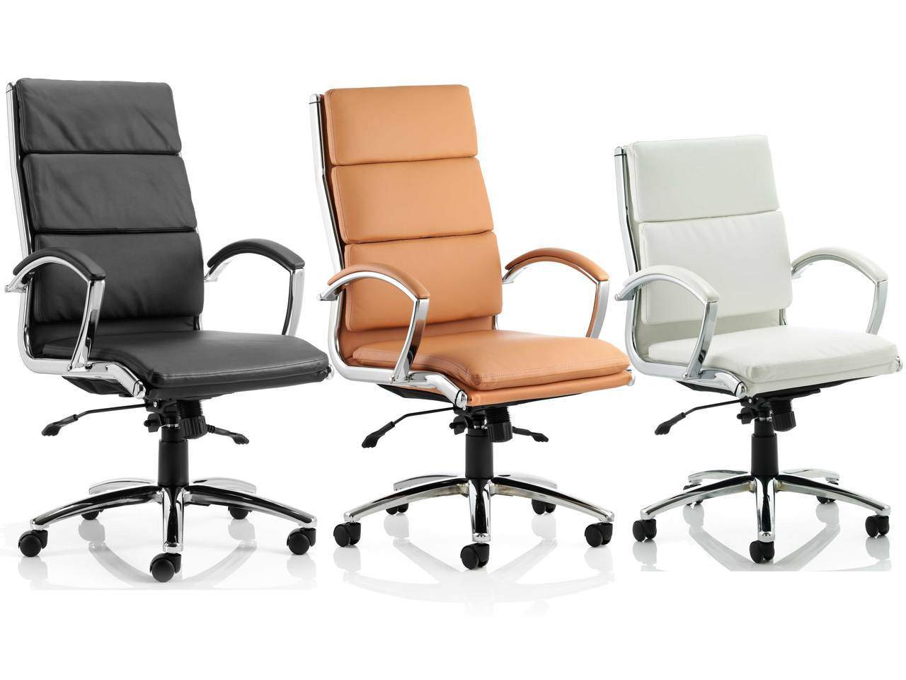 Classic Medium and High Back Leather Executive Office Chair in Tan, Black or White