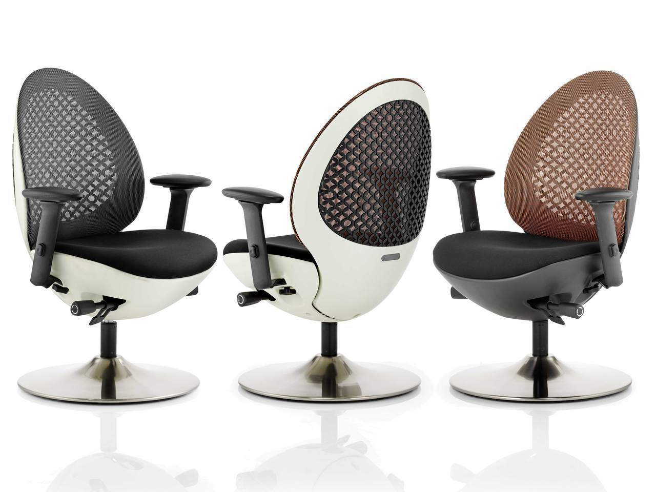 Revo Modern Deep Cushioned Mesh Back Meeting Chair in Black or Mandarin