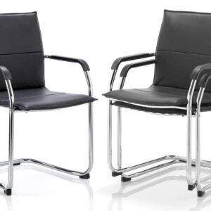 Echo Leather Visitor Meeting Cantilever Office Chair in Black, White or Red