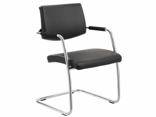 Havanna Black Leather Cantilever Meeting Chair