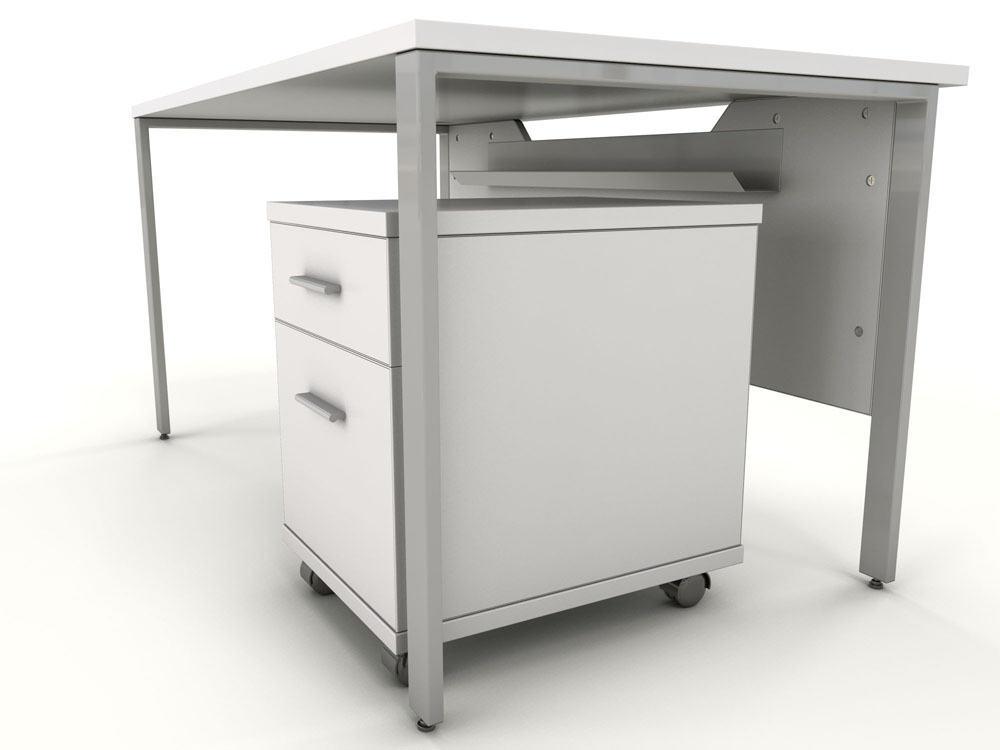 Icarus White Single Bench Desk