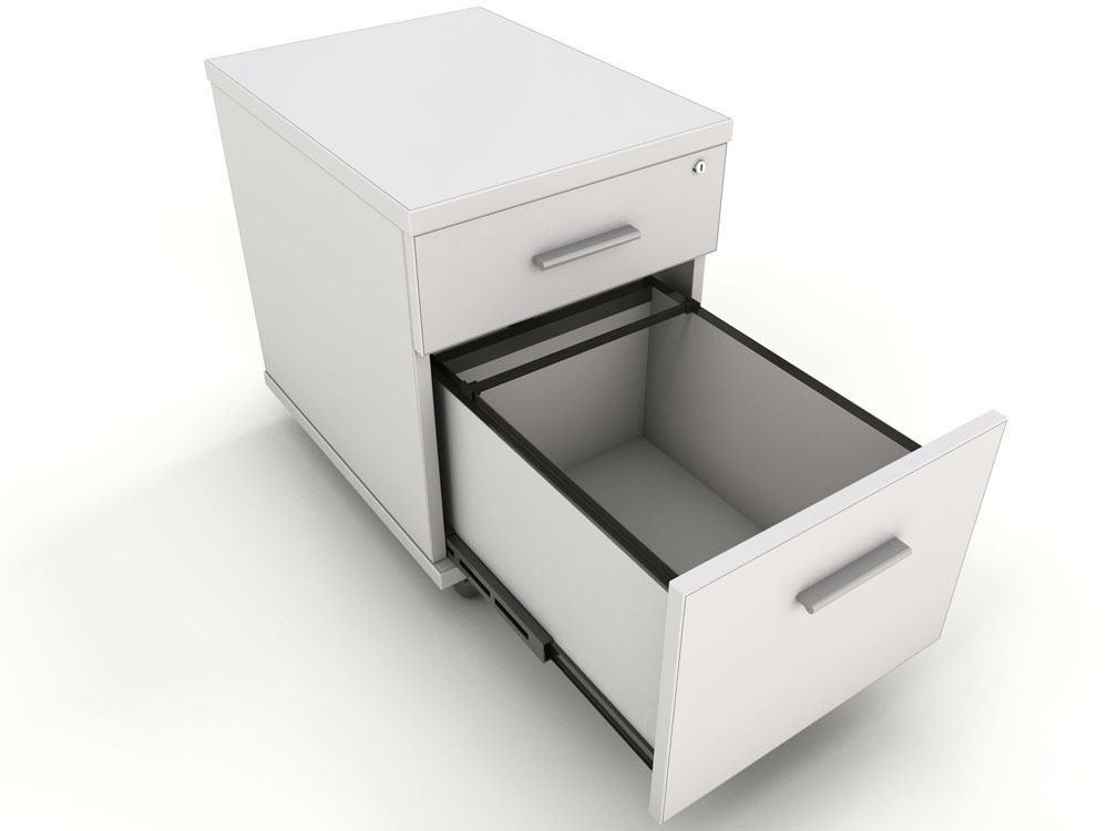 Icarus White 2 Drawer Under Desk Mobile Pedestal