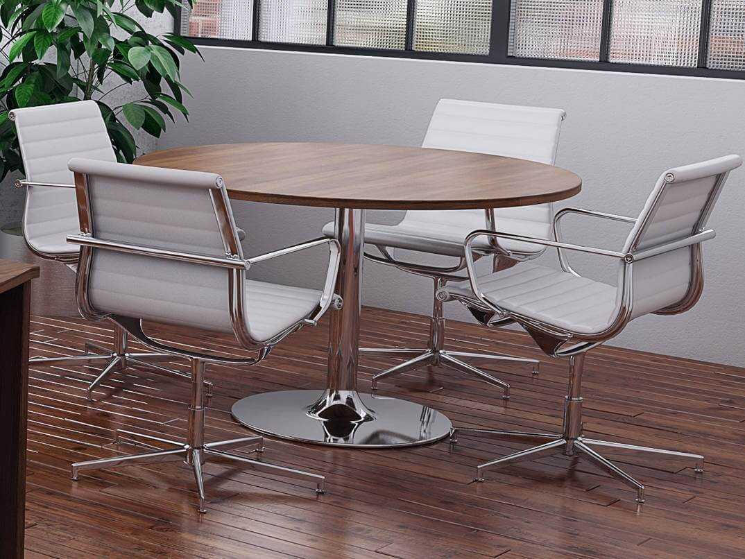 tcs round meeting table on chrome trumpet base