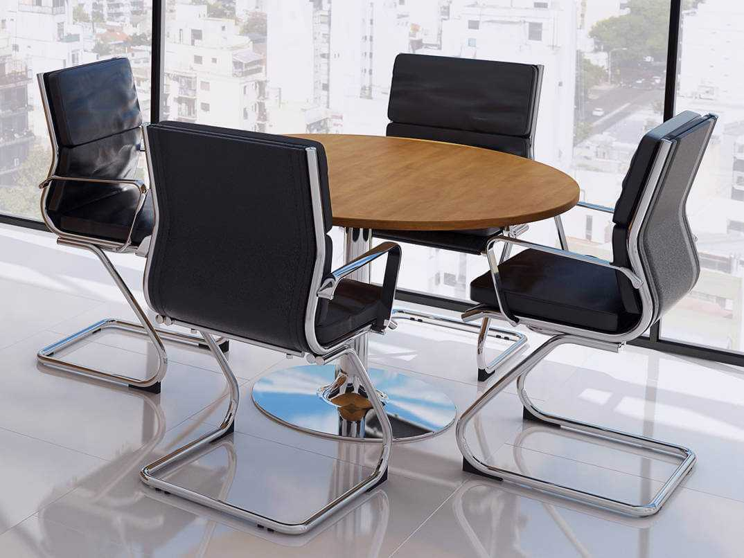 Tcs Round Meeting Table On Chrome Trumpet Base Rapid