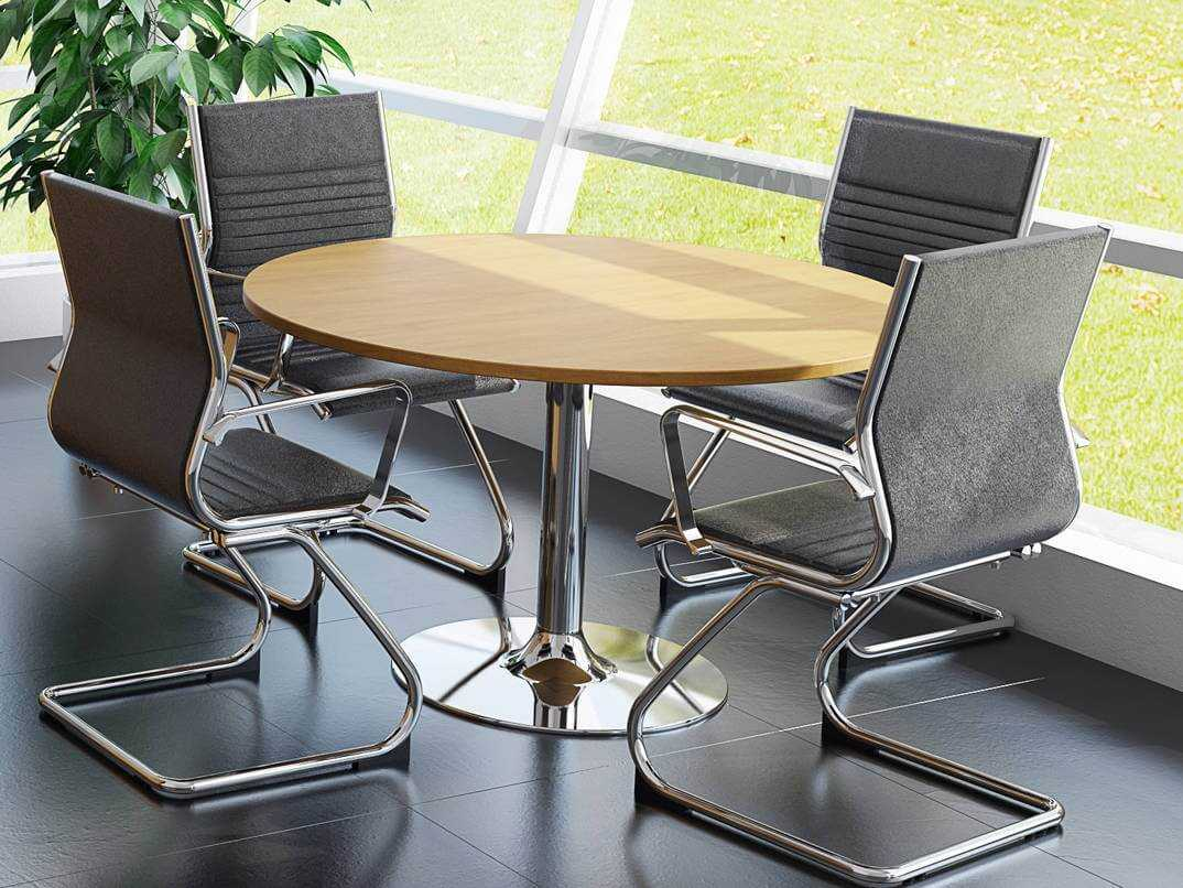 finest selection 2c282 78eed TCS Round Meeting Table on Chrome Trumpet Base