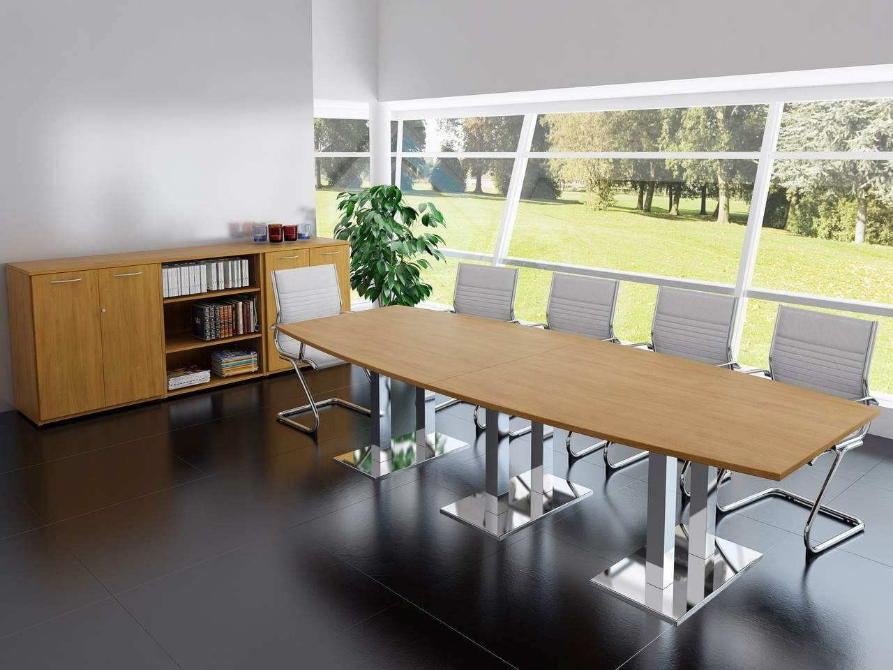 TCS Meeting Table on Twin Pedestal Base Choice of Shape & Finish