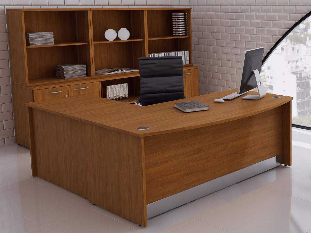 TCS nTree Empire Executive Bow Fronted Desk with Full Modesty Panel and Return Desk