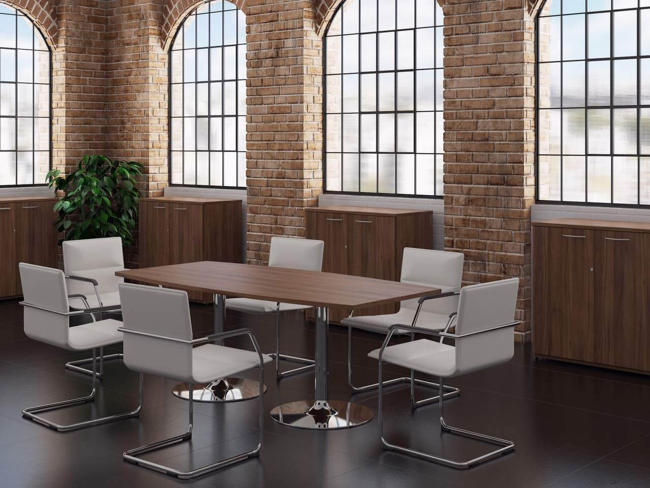 TCS Meeting Table on Chrome Trumpet Base Choice of Shape & Finish