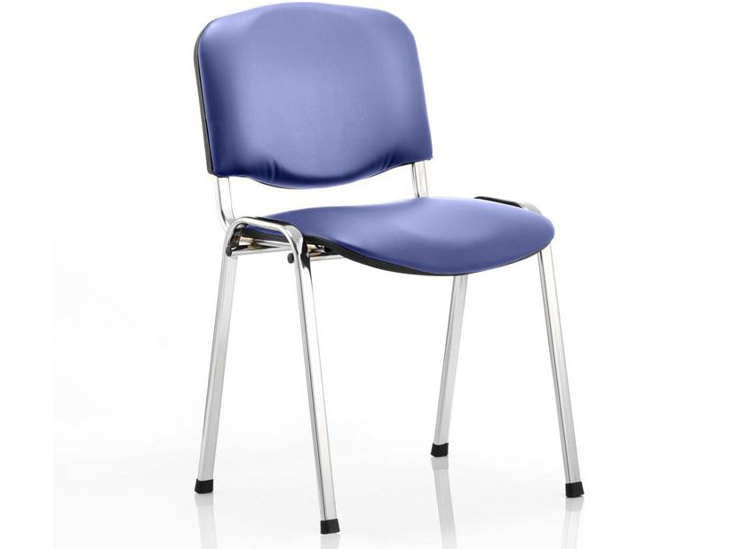 ISO Stackable Blue or Black Vinyl 4 Legged Reception Meeting Chair