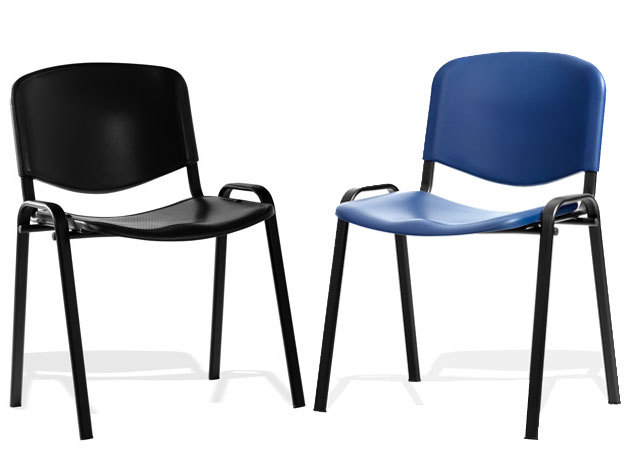 ISO Stackable Blue or Black Polyurethane 4 Legged Reception Meeting Chair