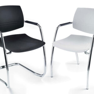 Breeze Plastic Stackable Visitor Meeting Chair in Black or White
