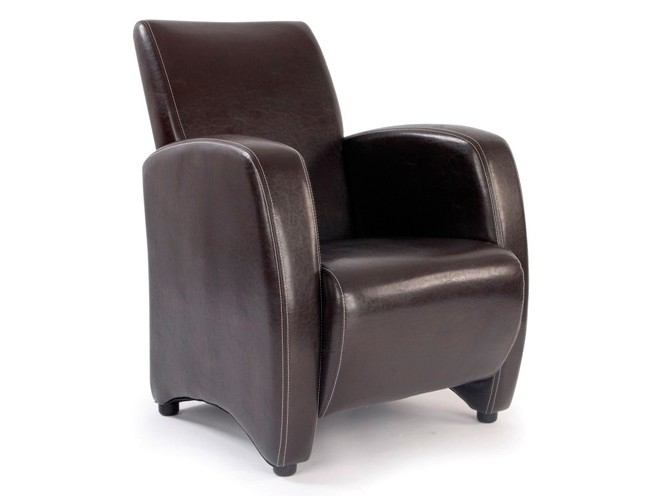 Metro High Back Lounge Reception Armchair in Brown