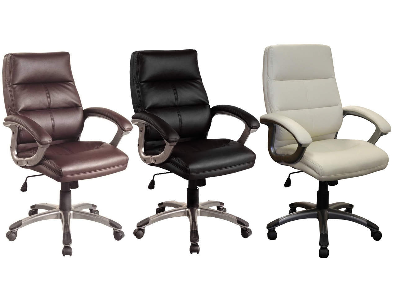 Greenwich Medium Back PU Leather Executive Chair in Black, Brown or Cream
