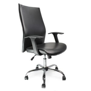 Tor Leather Faced Shirt-Tail Executive Chair in Chrome Black
