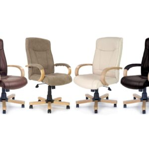 Troon High Back Executive Chair with Oak Effect Arms and Base in Fabric or Black, Cream or Brown Leather