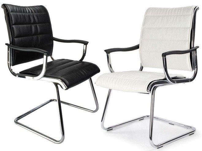 Carbis Leather Effect Designer Visitor Meeting Boardroom Cantilever Chair in Black or White