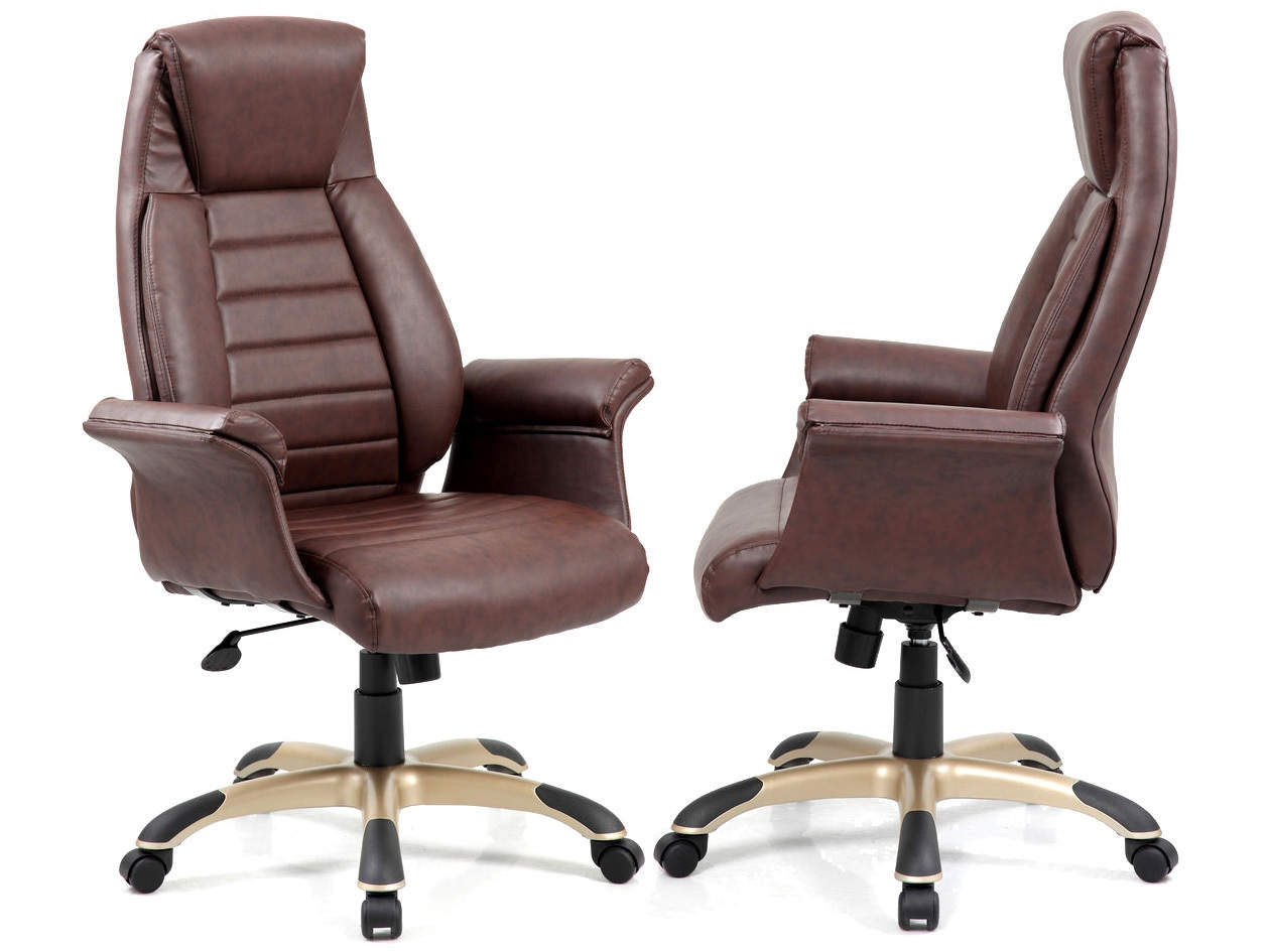 Riga Brown Leather Gull Wing Executive Chair
