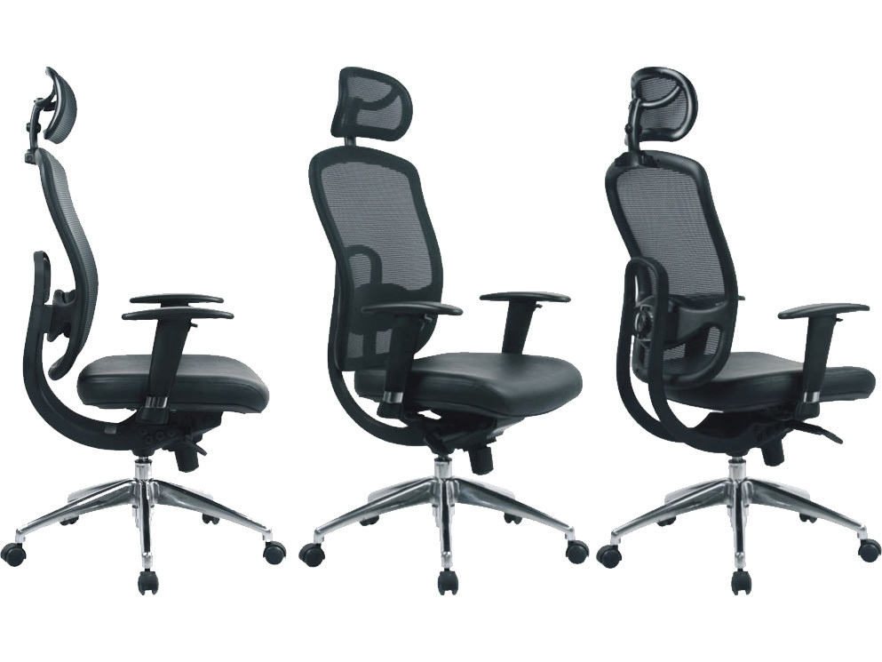Liberty Mesh High Back Executive Chair with Leather Effect Seat and Mesh Headrest