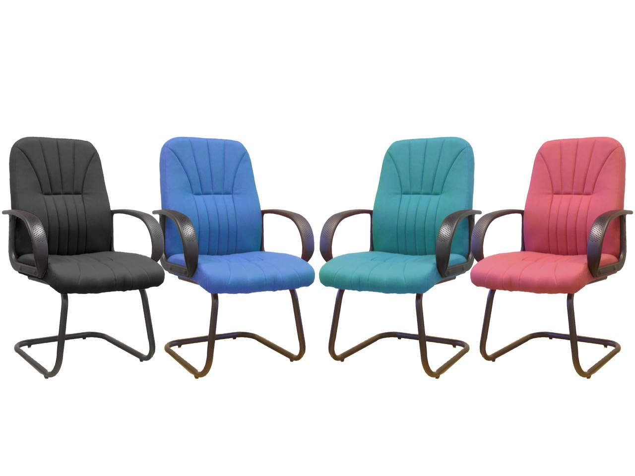 Pluto Visitor Meeting Cantilever with scupltured back in Black, Blue, Green or Red