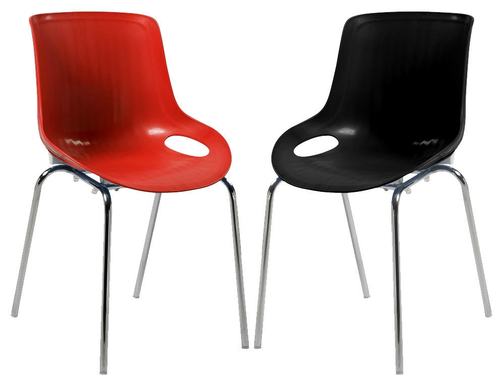 Pair of Americano Cafe Bistro Stacking Chairs in Red or Black
