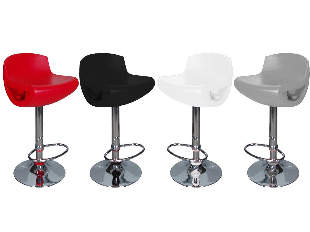 Dakota Adjustable Bar Stool in Black, White, Silver and Red