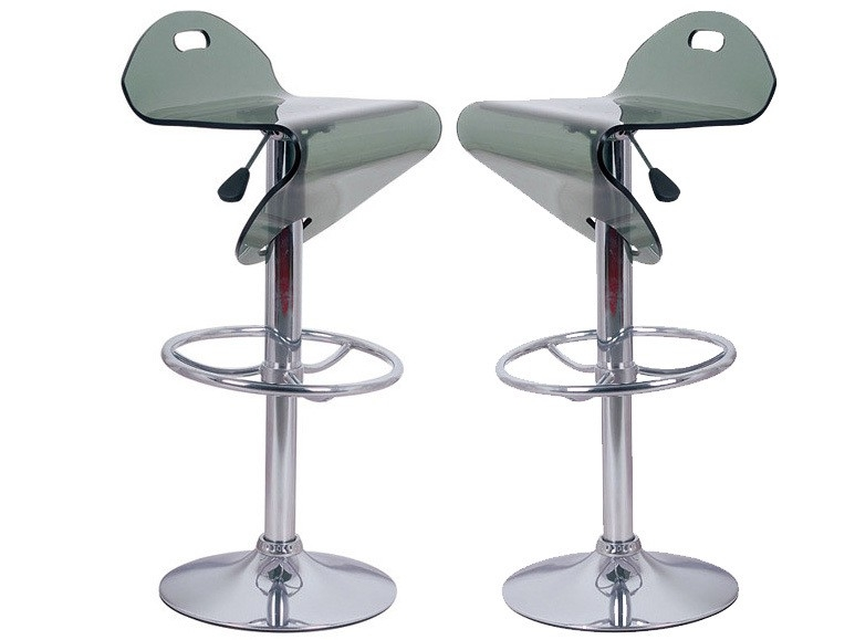 Pair of Sarasota Translucent Black Bar Stools