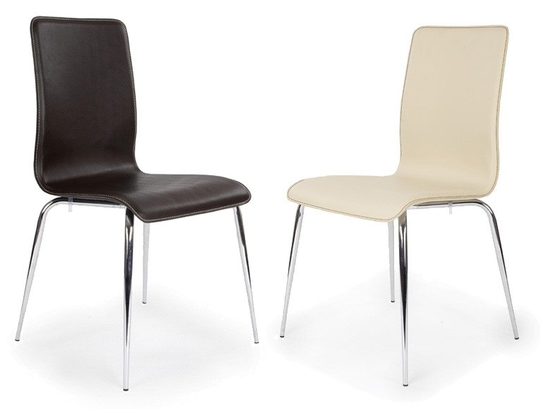 Pair of Cleveland Chrome Framed Leather Stiletto Side Chair in Brown or Cream