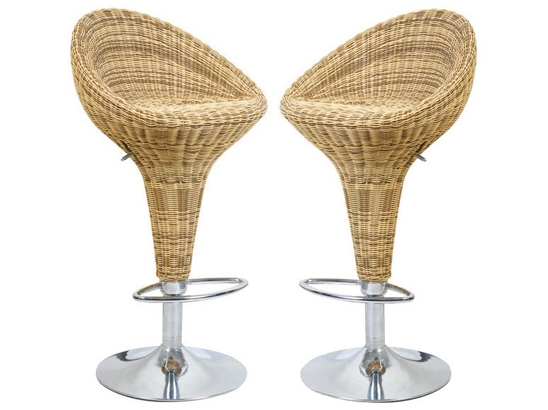 Rattan Effect Adjustable Bar Stool