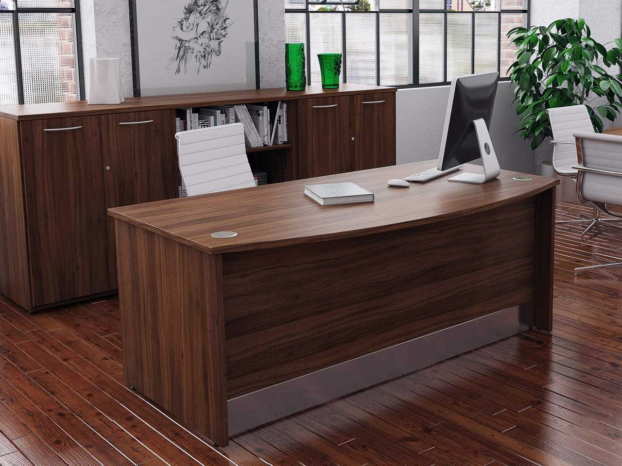TCS Empire Executive Bow Fronted Desk with Full Modesty Panel
