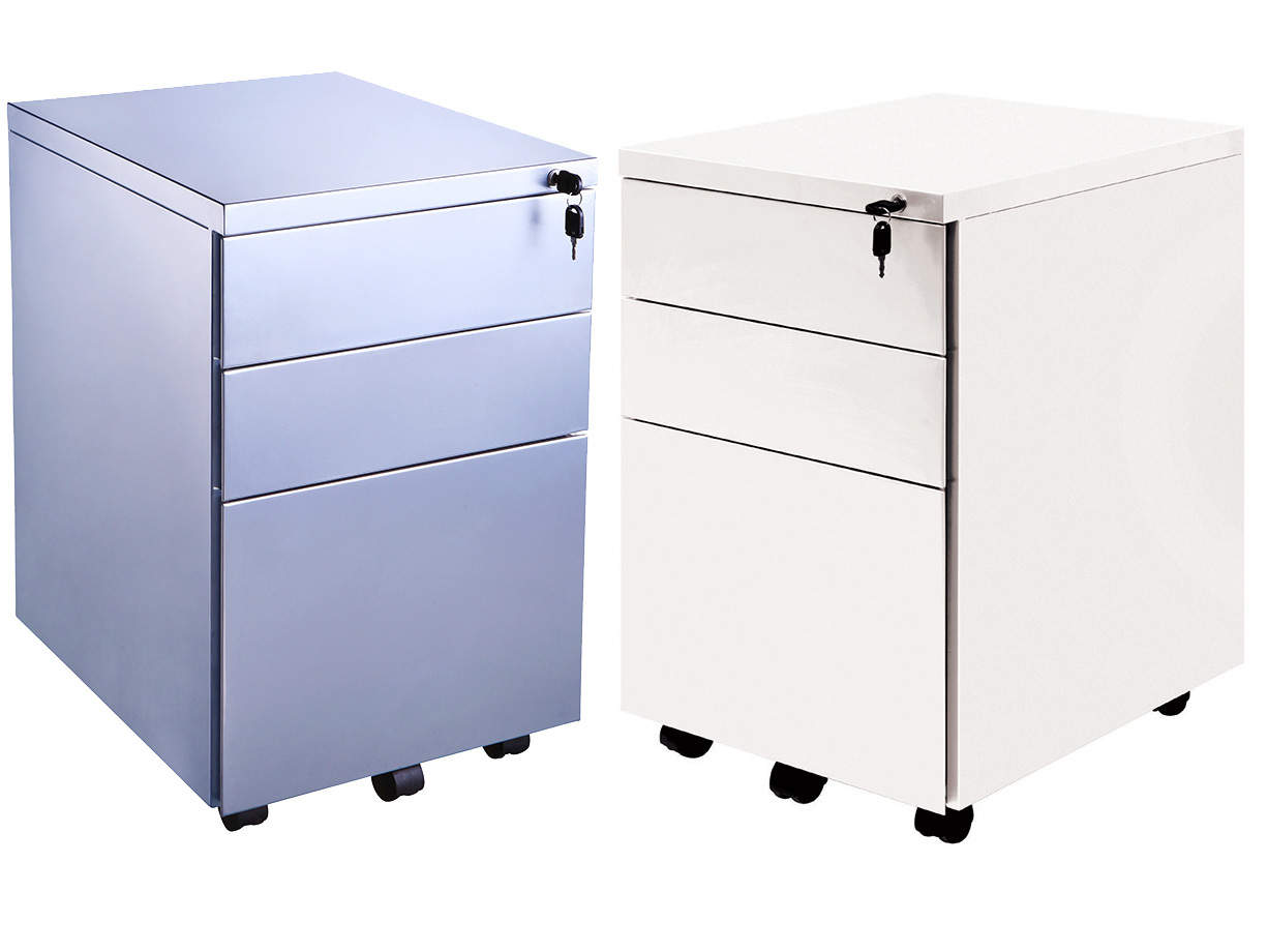 Metal 3 Drawer Mobile Under Desk Office Pedestal in Silver or White