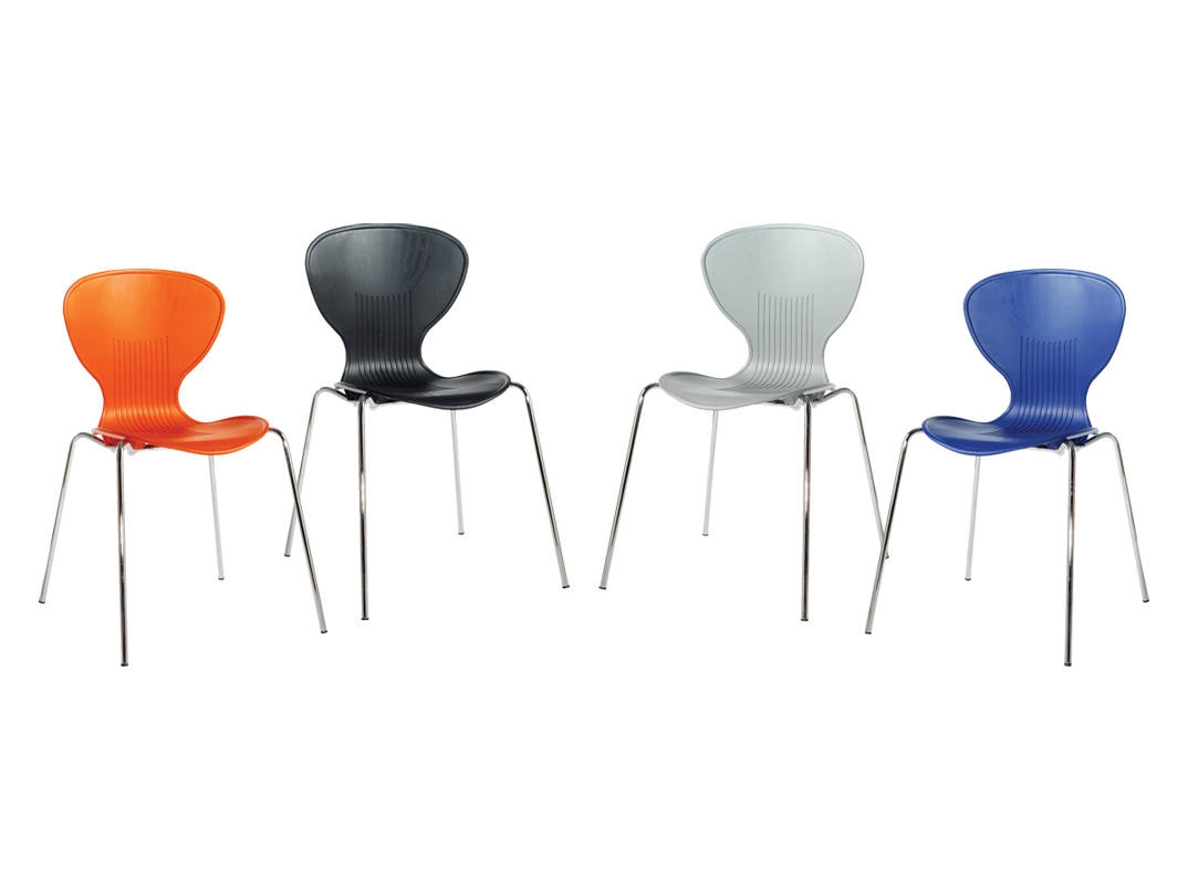 NEXT DAY: Sienna Cafe Bistro Stacking Shell Chair in Orange, Black, White and Blue
