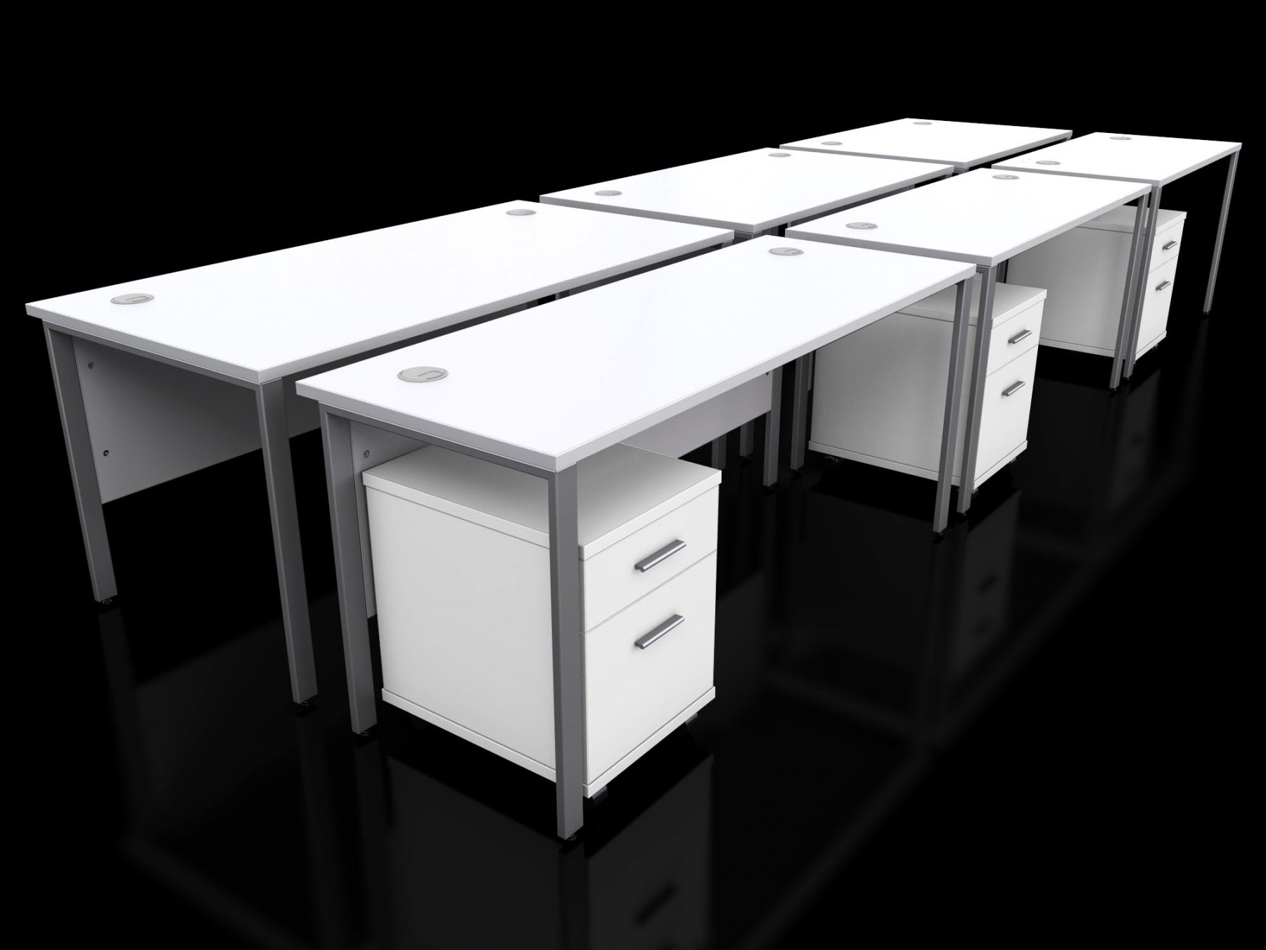 Pod Of 6 Icarus White Bench Desks And Pedestals Rapid