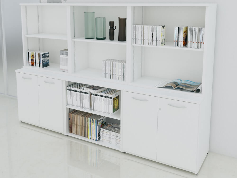 Tcs Desk Height Triple Credenza With Top Bookcase Rapid Office