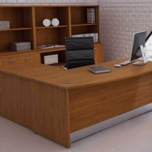 TCS Empire Bow Fronted Executive Desk with Full Modesty Panel and Return