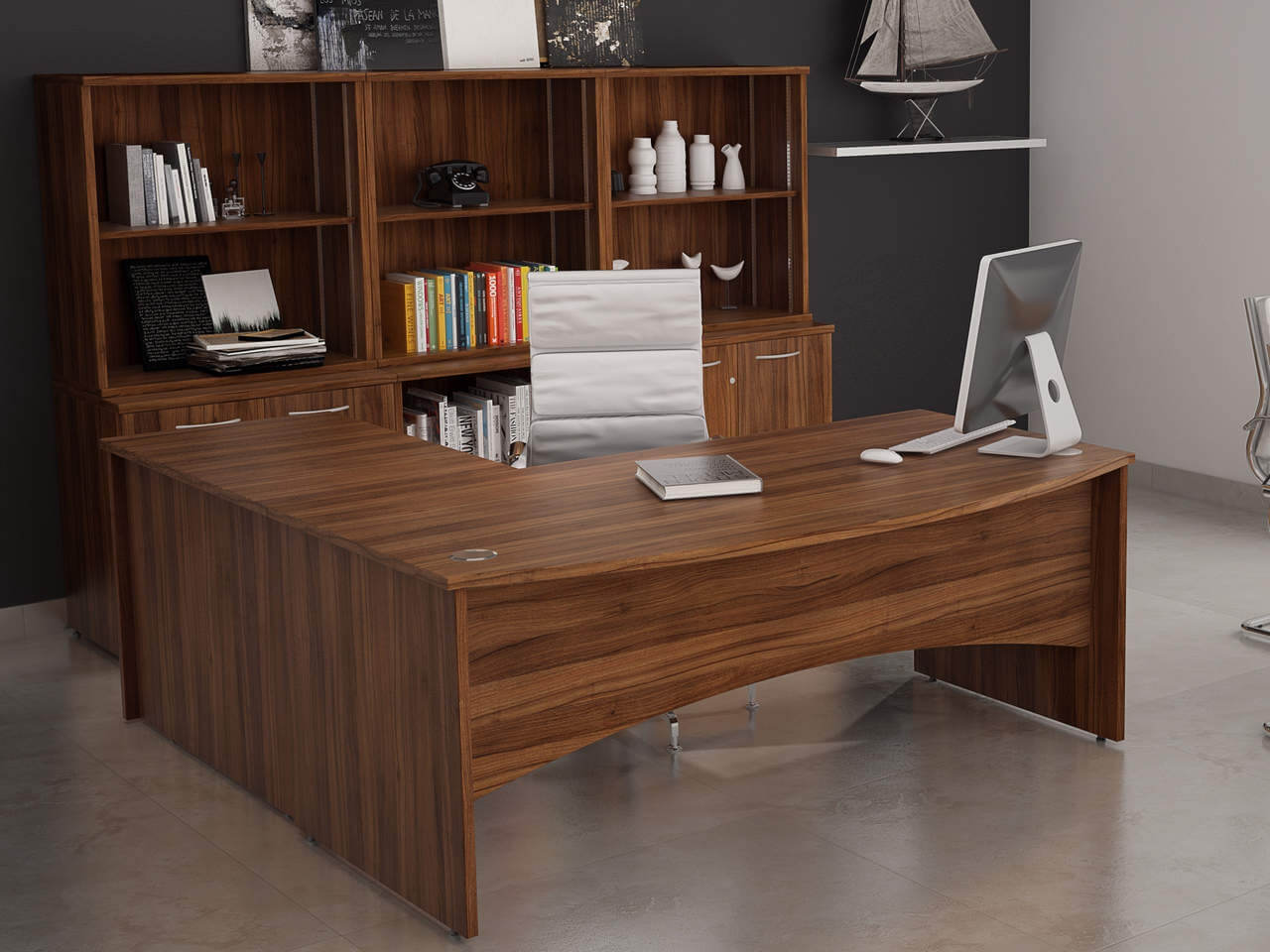 TCS Empire Bow Fronted Executive Desk with Shaped Modesty Panel and Return