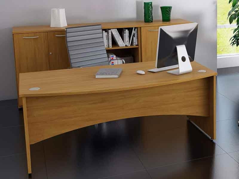 TCS Empire Bow Fronted Executive Desk with Shaped Modesty Panel