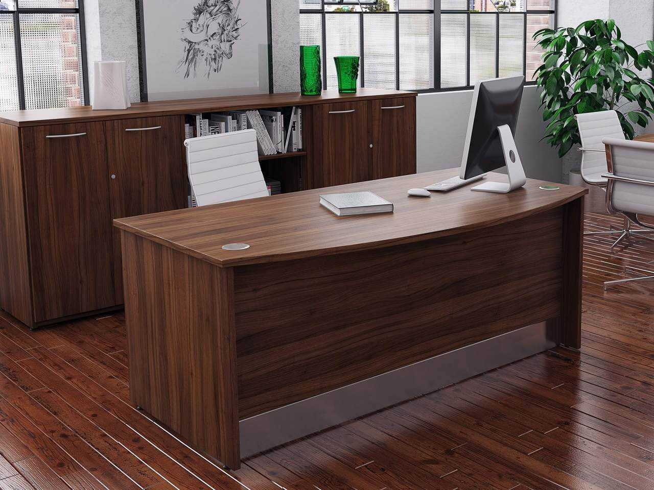 TCS Empire Bow Fronted Executive Desk with Full Modesty Panel