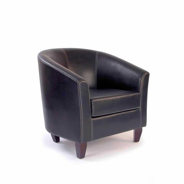 Pleasing Metro Tub Brown Faux Leather Reception Seating Machost Co Dining Chair Design Ideas Machostcouk