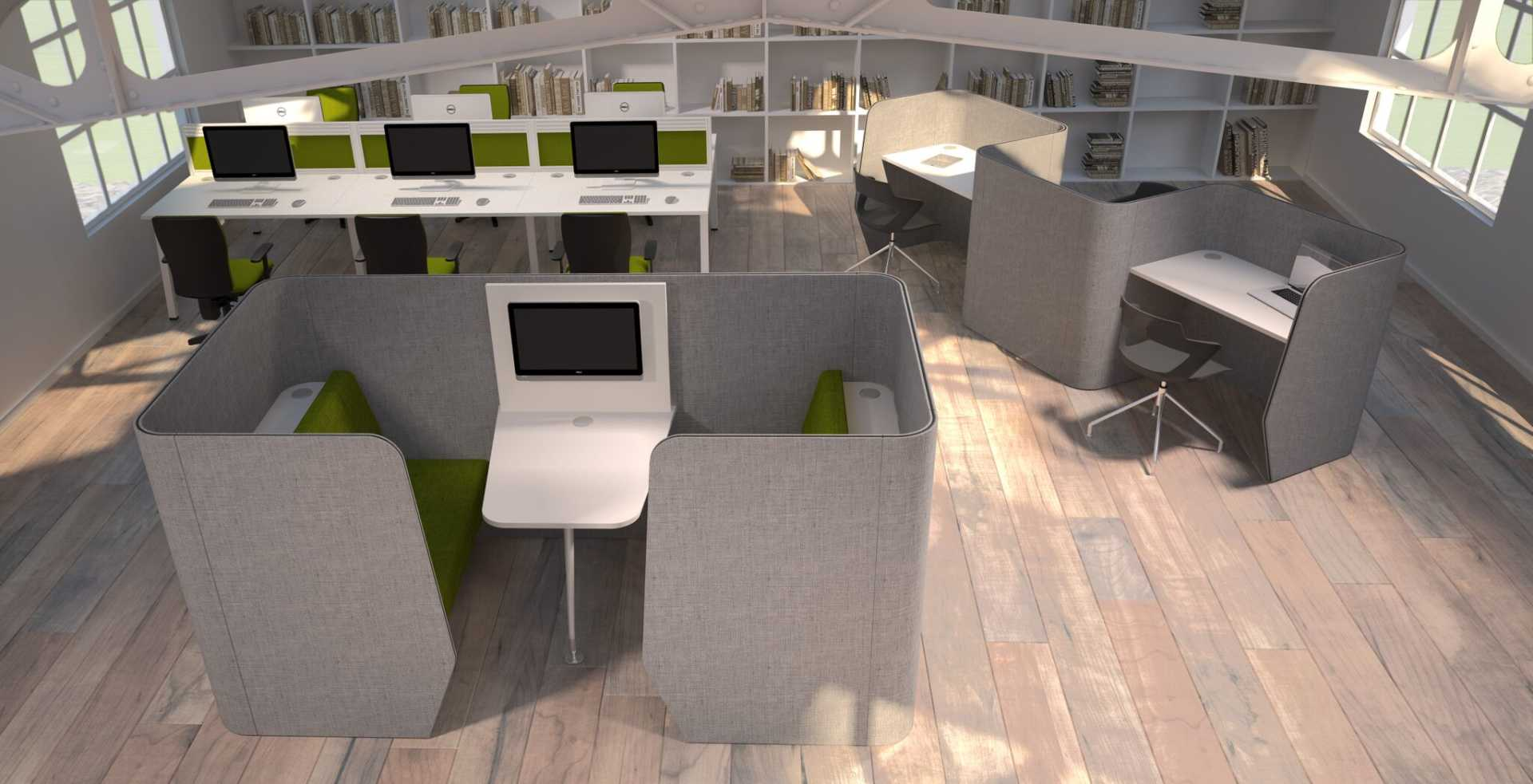 Zone Meeting Desk And Seating Acoustic Pods Rapid Office