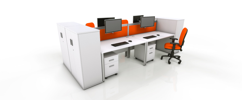 Icarus White Single Office Bench Desk Rapid Office Furniture