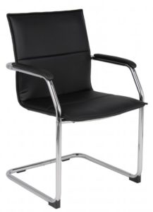 Faux Leather Cantilever Chair 02BK